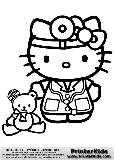 hello kitty doctor coloring page hello kitty coloring pages pdf coloring pages