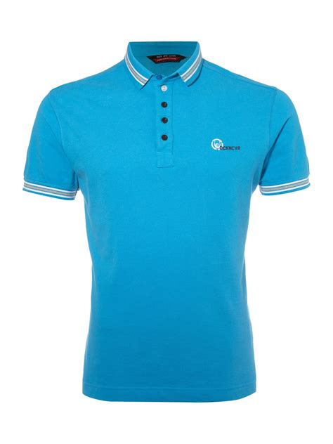 light blue collared shirt duck and cover tipped collared polo shirt in blue