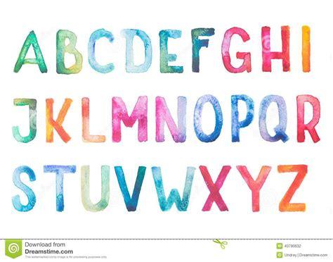 Water Doodle Alphabet Card colorful watercolor aquarelle font type stock illustration