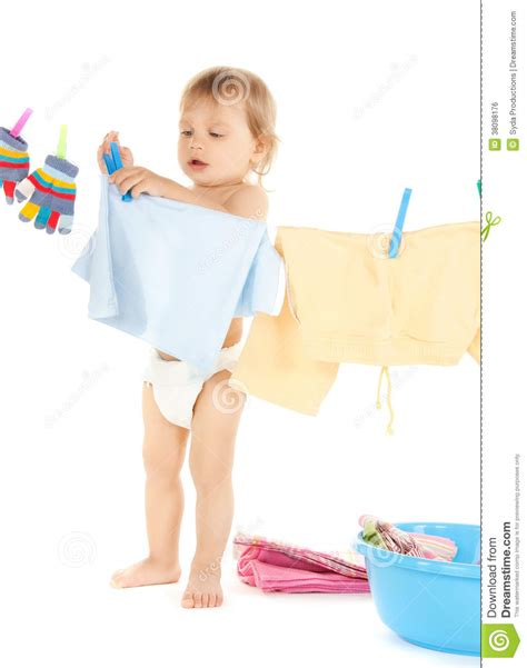 Baby Doing Laundry Stock Photo Image Of Concentrated Baby Laundry