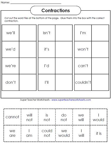 printable worksheets contractions 2nd grade contraction worksheets teaching contractions