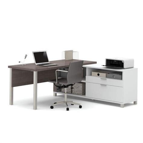 Professional Computer Desks Bestar Pro Linea L Desk In White And Bark Grey 120883 47