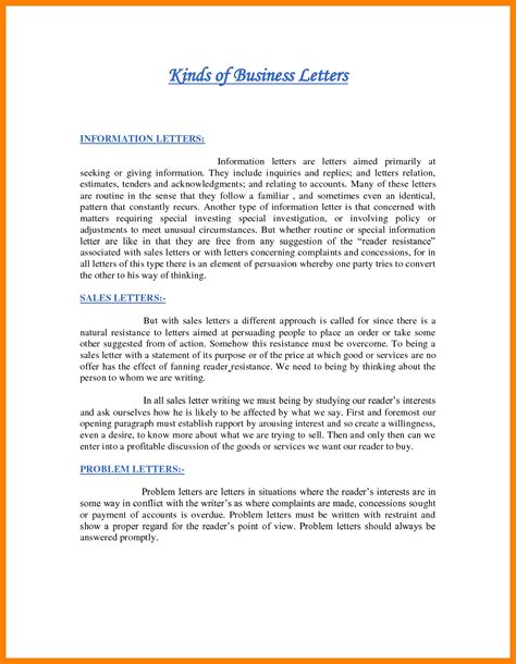 Types Of Business Letter And Definition Different Types Of Business Letters The Best Letter Sle