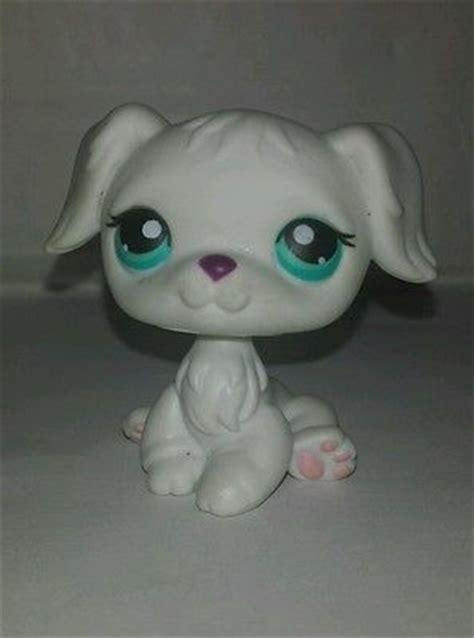 lps golden retriever littlest pet shop all white golden retriever blue preowned lps lps pet shop