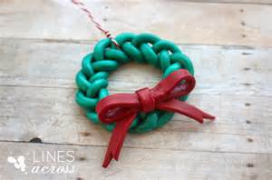 handmade braided wreath ornament lines across