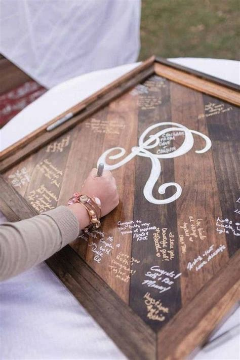 wood wedding guest books youll love roses rings