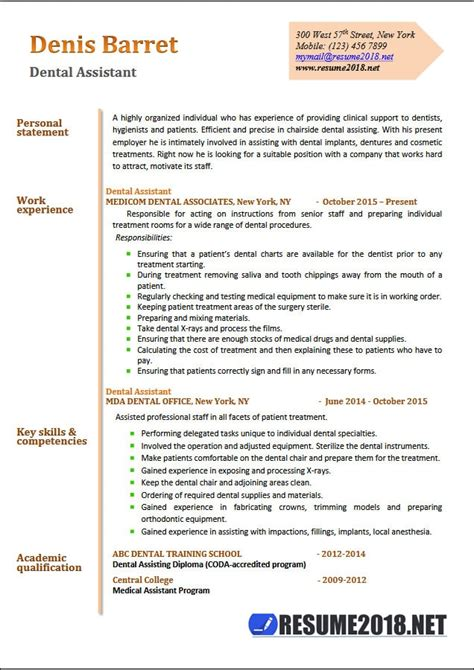 Dental Assistant Resume by Dental Assistant Resume Choice Image Cv Letter