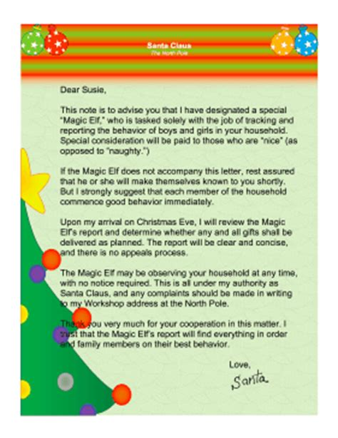 printable letters from santa s elves magic elf letter