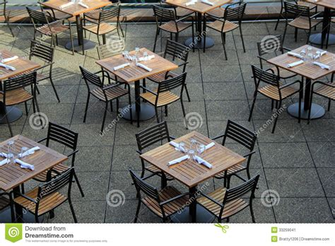 restaurant patio tables tables and chairs set for lunchtime stock image image