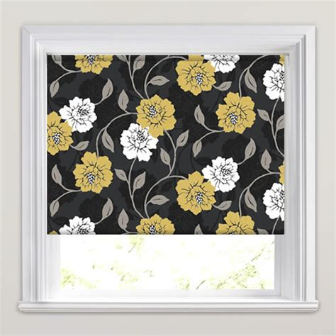 large patterned roller blinds charcoal fawn cream beige large flowers patterned