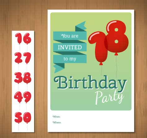 Birthday Invitation Cards Models Digital Balloon Birthday Invitation Cards Vector Material