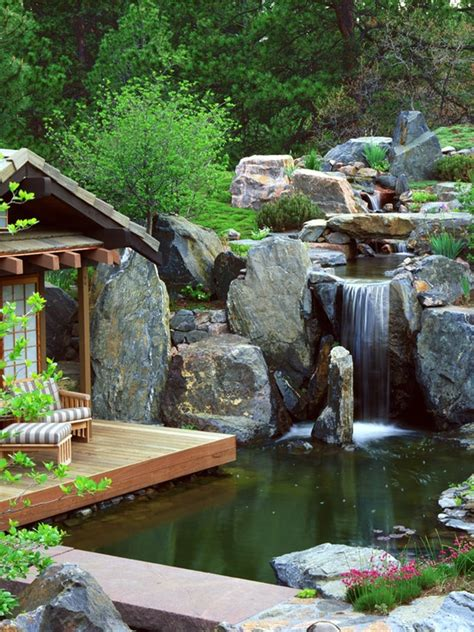 waterfalls decoration home 75 relaxing garden and backyard waterfalls digsdigs