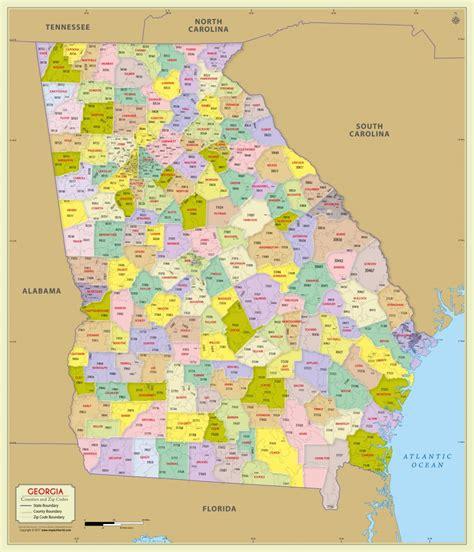 zip code maps com buy georgia zip code map with counties