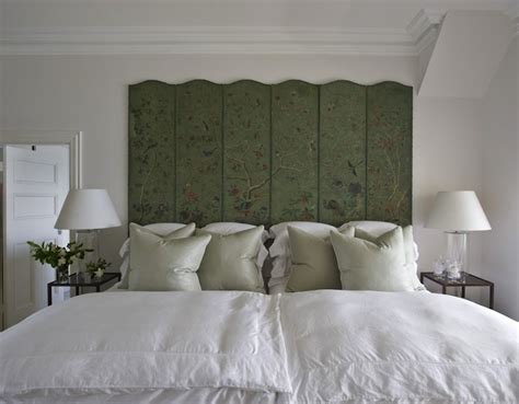 folding screen headboard chinoiserie headboard transitional bedroom marco