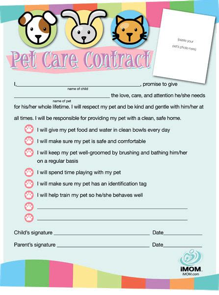 Pet Care Contract Imom Pet Contract Template