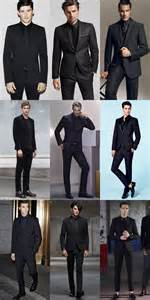 Black suits with black shirts and ties outfit inspiration lookbook