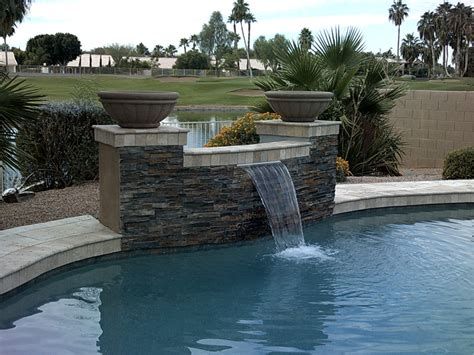 how to build a waterfall into a pool swimming pool design showcase new pool builds and remodels