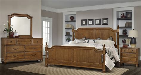 Antique Cherry Bedroom Furniture Arrendelle Antique Cherry Poster Bedroom Set 440 559 955 922 Vaughan Bassett