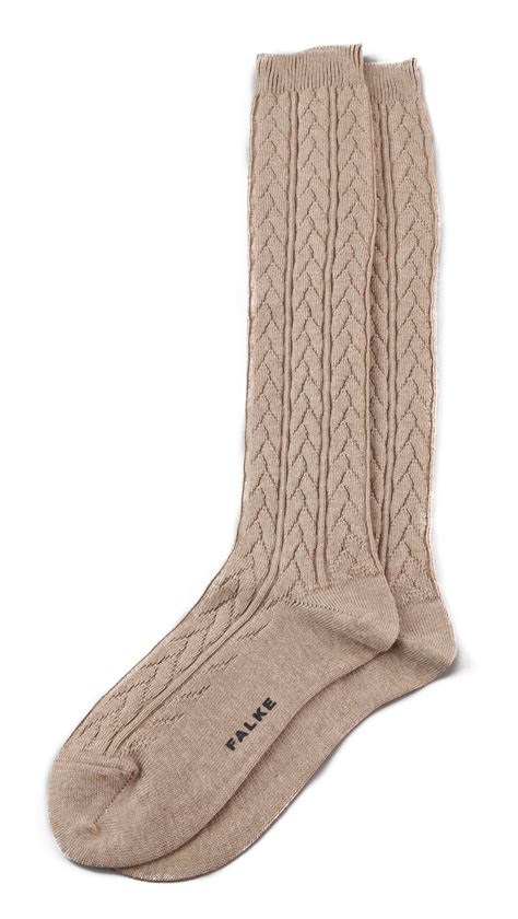 knit knee high socks falke striggings cable knit knee high socks grey in