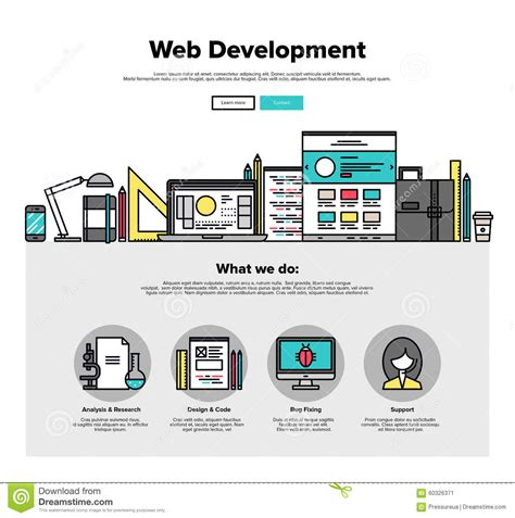 free web page clipart web development flat line web graphics stock vector