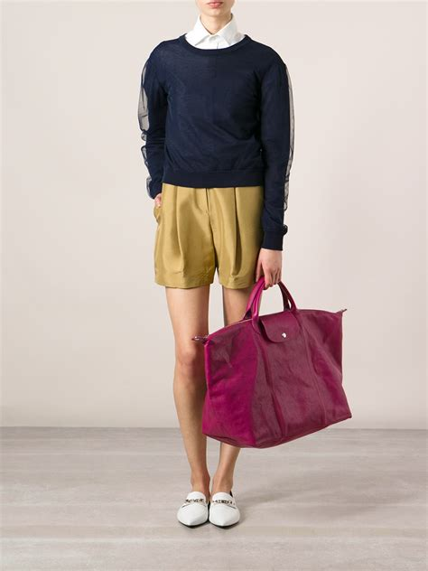 Lc Cuir Leather M longch le pliage cuir holdall bag in pink lyst