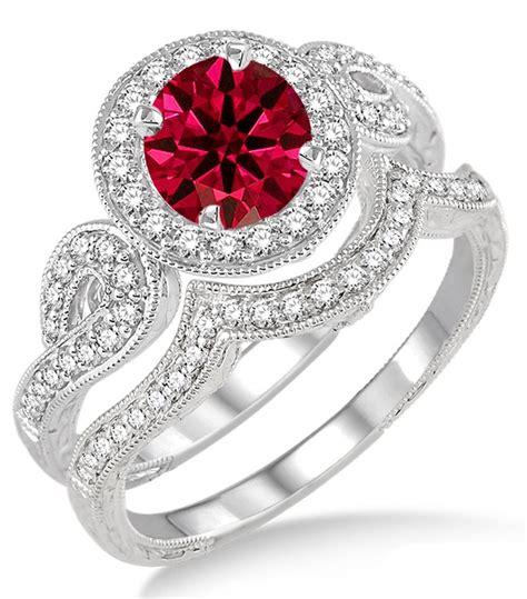 Rubi 6 5 Carat 1 5 carat ruby antique halo bridal set