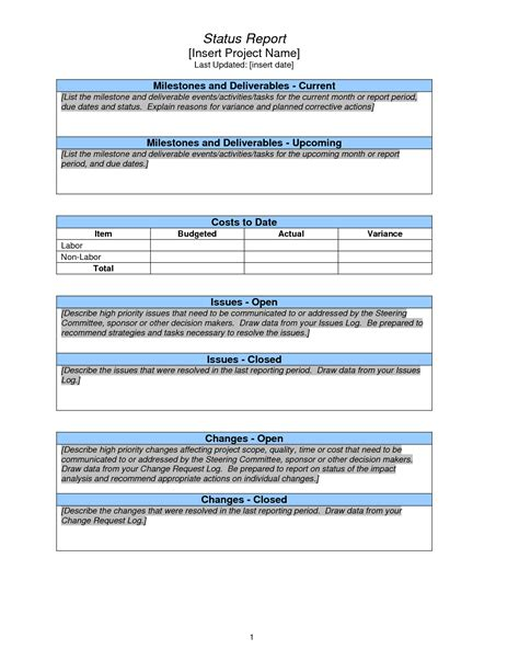 strategic management report template weekly project status report sle search