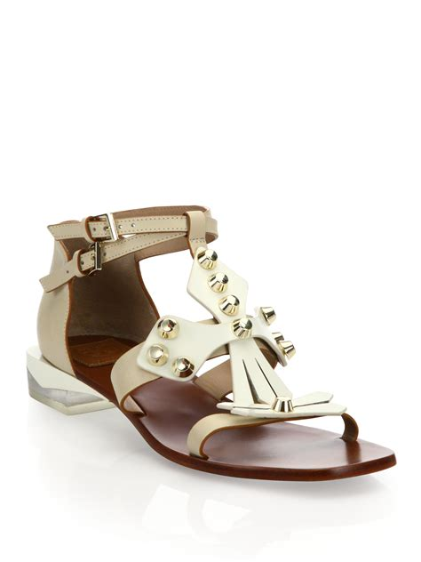 white burch sandals burch leather ankle sandals in white lyst