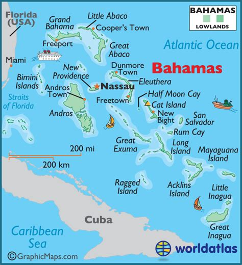 map of usa and bahamas bahamas large color map