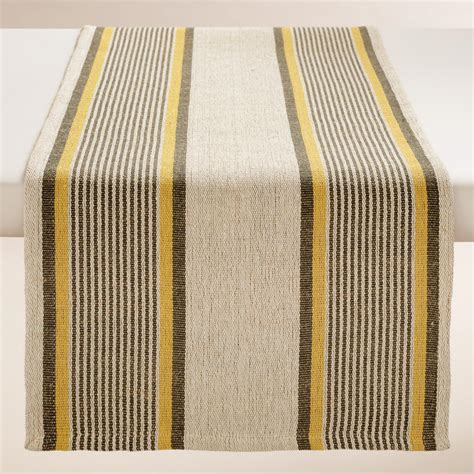 yellow and gray striped loire table runner world market