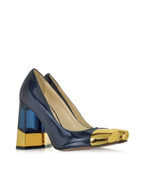 blue and gold l l autre chose blue and gold patent leather pump in blue lyst