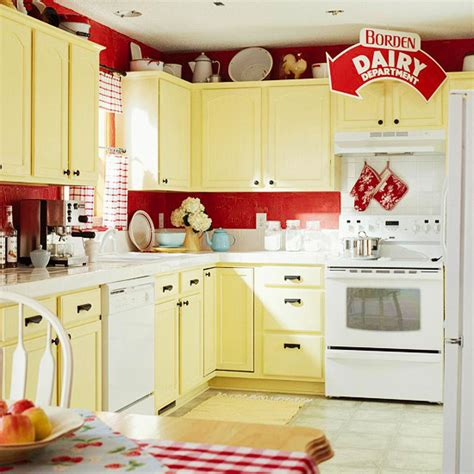 yellow and red kitchens low cost cabinet makeovers home appliance