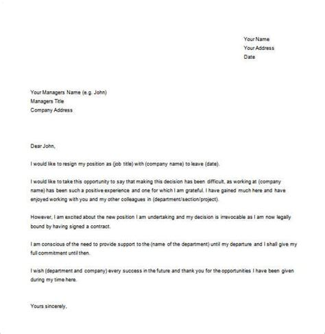 28 Simple Resignation Letter Templates Pdf Doc Free Premium Templates Letter Template Free Word