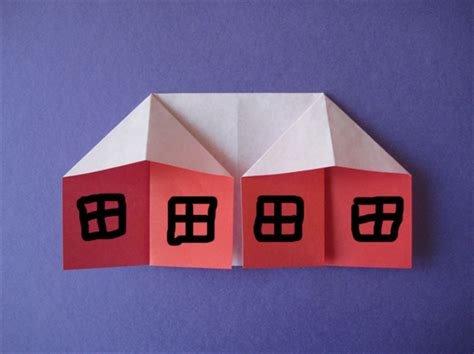 Folded Paper House - how to fold an origami house origami for children