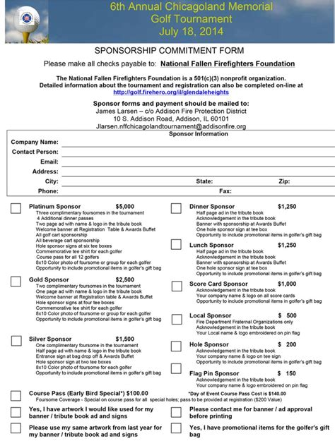 sponsorship commitment form template chicagoland memorial golf tournament to benefit the