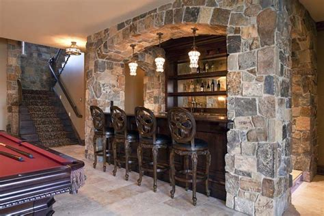 Rustic basement bar pictures home bar transitional with stone wall wet bar stone wall