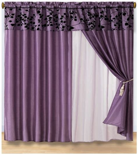 Black White And Purple Curtains Discount 4 Pieces Purple With Black Velvet Floral Flocking Window Curtain Drape Set With Sheer