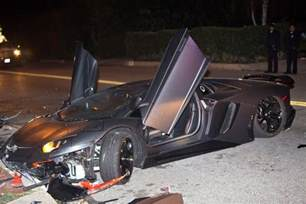 Lamborghini Crashed Chris Brown S Lamborghini Aventador Crashed And Abandoned