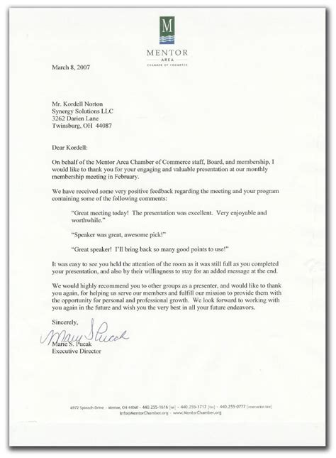 Reference Letter For Mentor Reference Letter For Kordell Norton From The Mentor Chamber Of Commerce For Keynote Speech