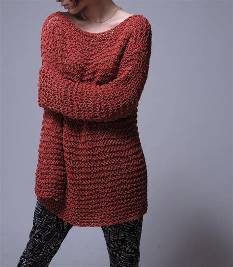 custom knitted sweaters knit sweater eco cotton oversized sweater in brick