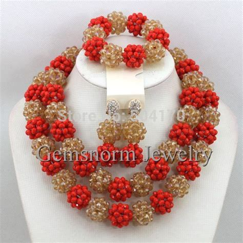 Exotic Nigerian Beaded Necklace Design | aliexpress com buy luxury red chagne gold african