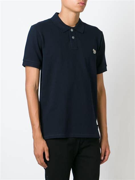 paul smith zebra logo appliqu 233 polo shirt in blue for