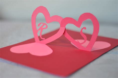 linked hearts pop up card template