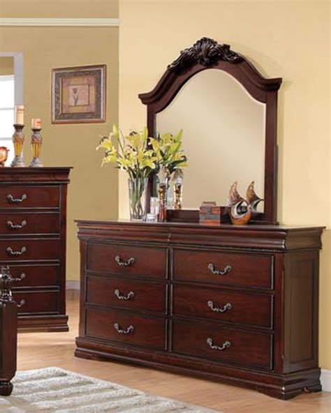 cherry dresser with mirror dresser w mirror in cherry finish gwyneth by acme