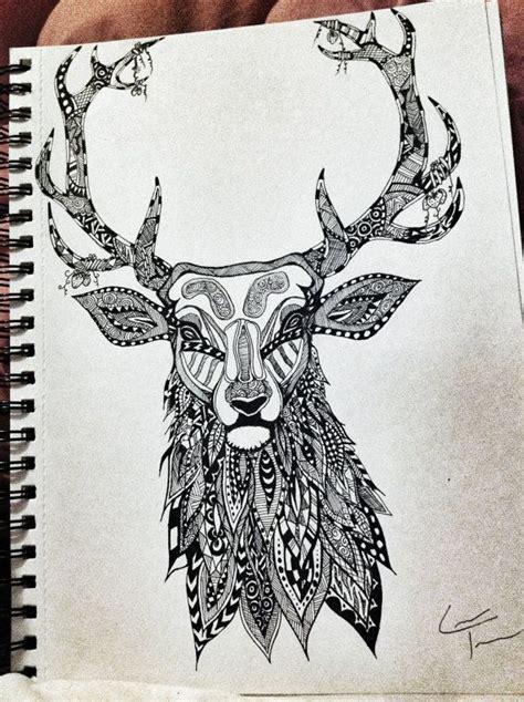 Zentangle Tattoo Animal | stag zentangle design by telferzentangle on etsy hdhx