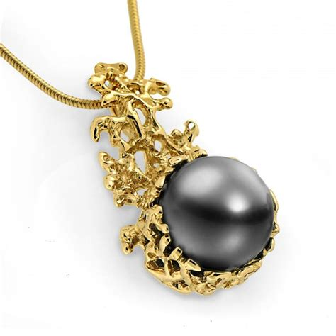 Gold Coral coral 14k gold black tahitian pearl pendant necklace gold