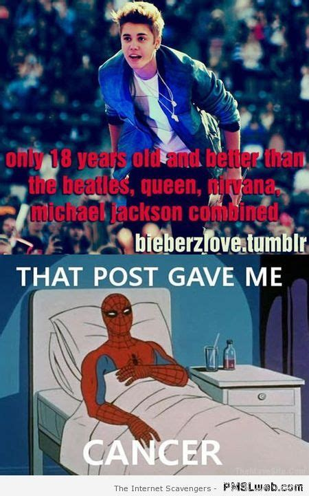 Spiderman Cancer Meme - 5 justin bieber spiderman meme this post gave me cancer