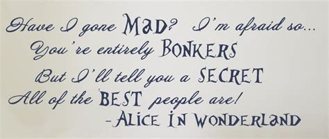 Word Stickers For Walls Uk alice in wonderland quote have i gone mad vinyl wall