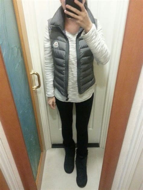 hnm top hnm tweed top and moncler vest ugg boots