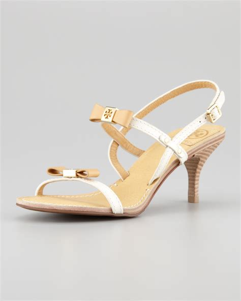 white bow sandals burch kailey patent bow sandals in white coffee